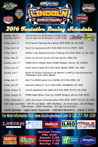 2016 Lincoln Poster Schedule